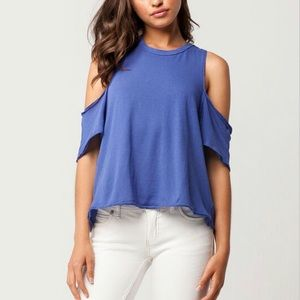 WE THE FREE Indigo Blue Taurus Tee Cold Shoulder